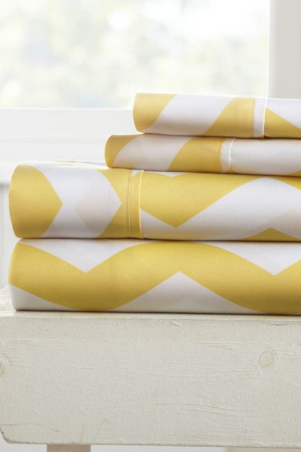 Image of IENJOY HOME The Home Spun Premium Ultra Soft Arrow Pattern 4-Piece King Bed Sheet Set - Yellow