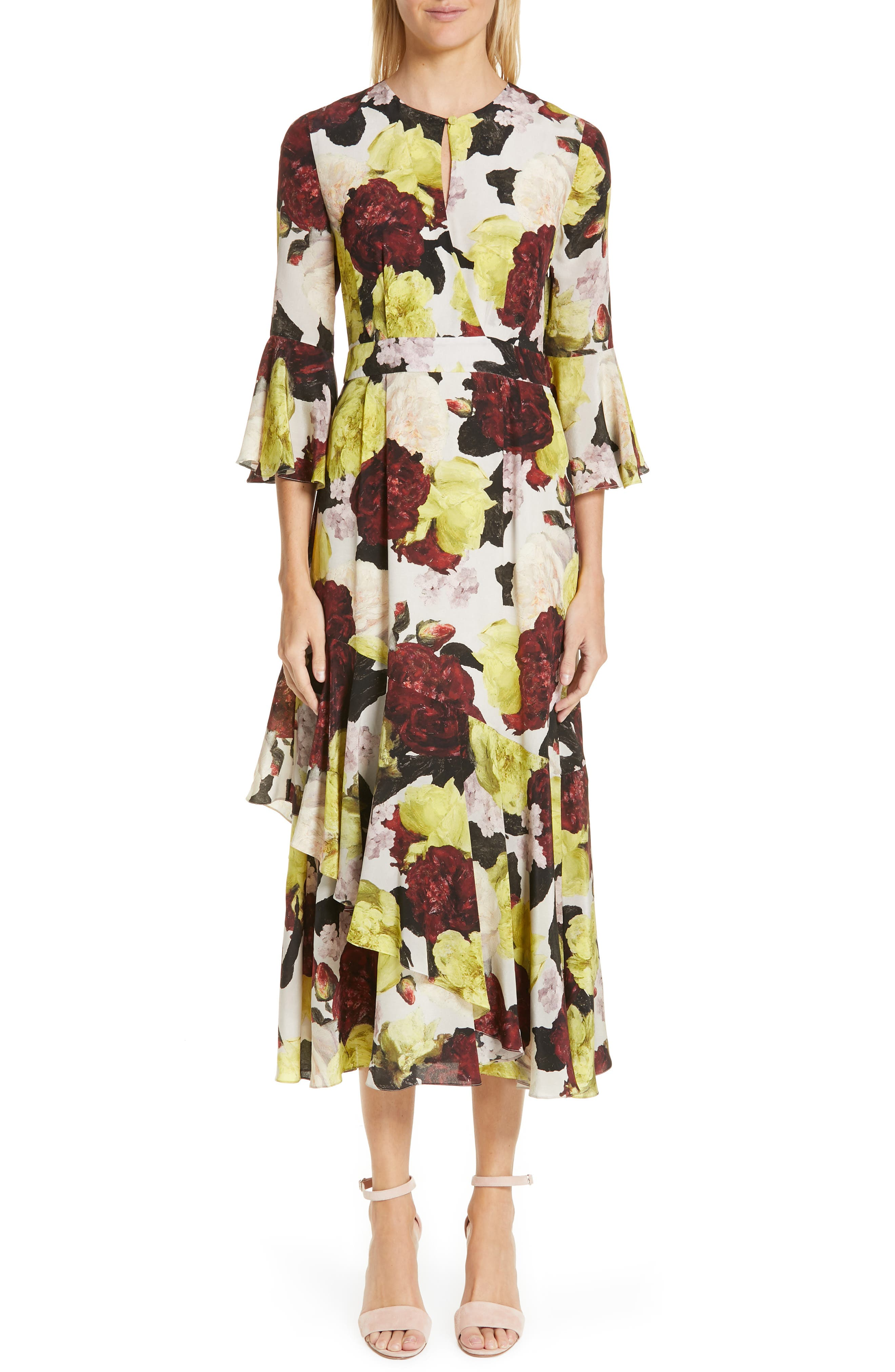 Erdem Floral Print Flutter Sleeve Silk Midi Dress