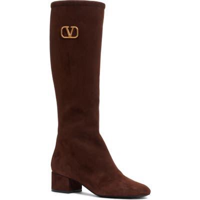Valentino Garavani V-Logo Tall Boot, White