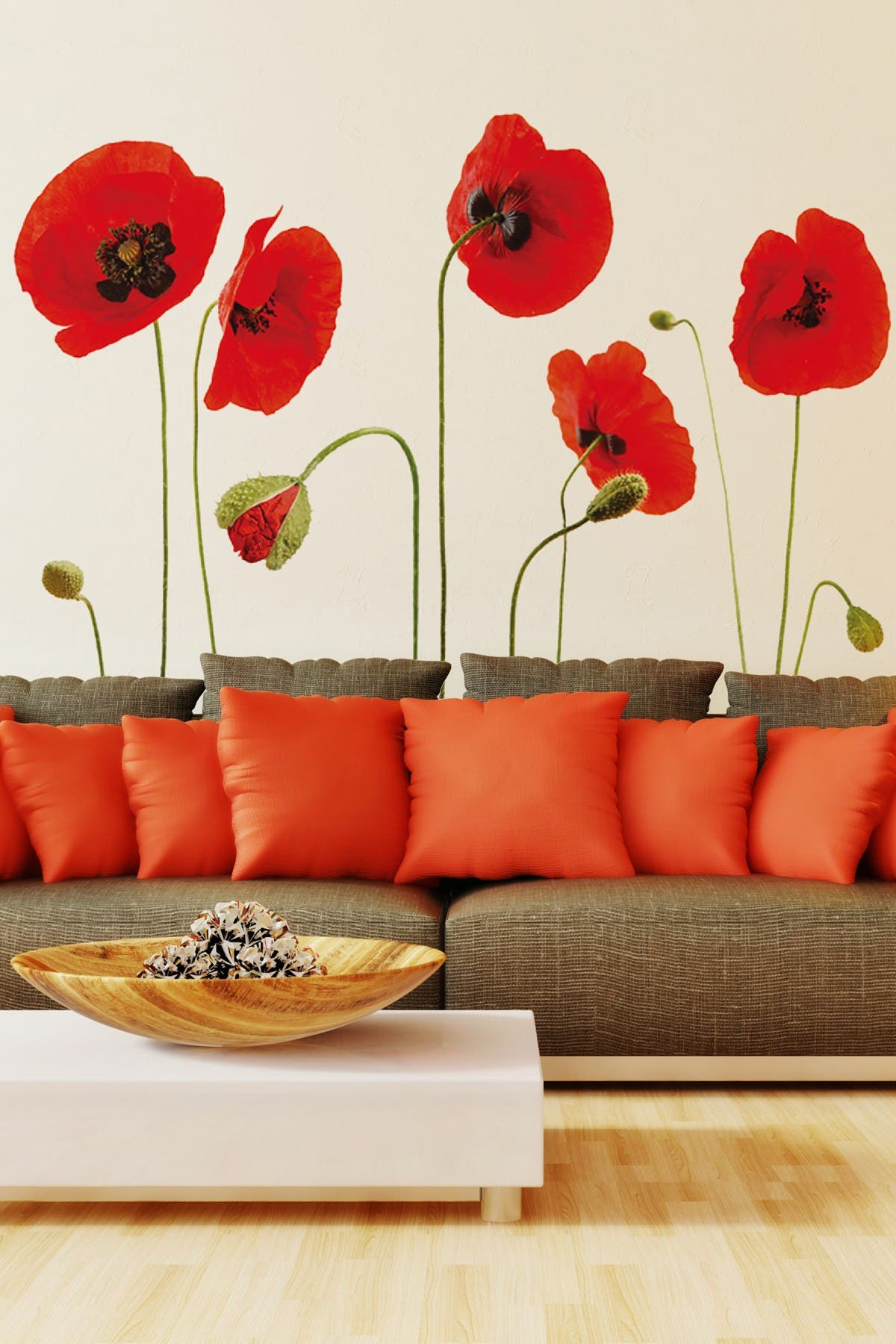 Image of WalPlus Red Poppy Flower Art Wall Sticker