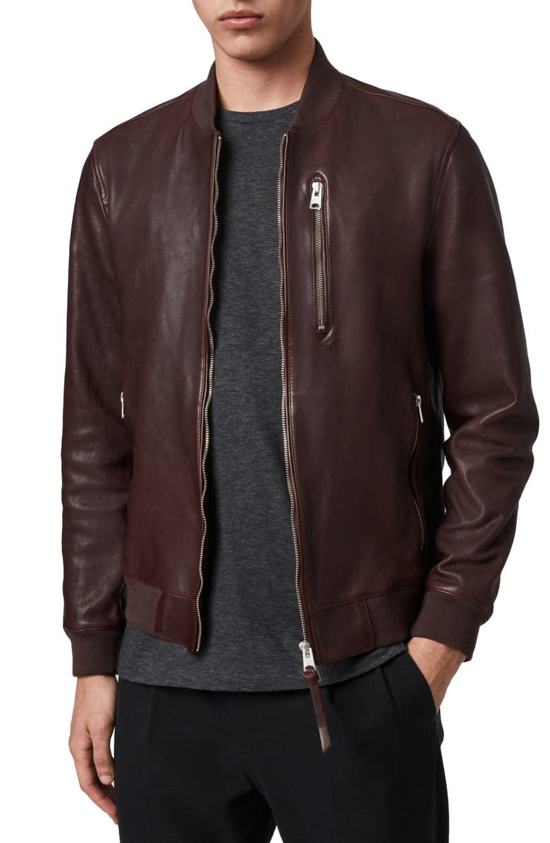 ALLSAINTS Kino Slim Fit Leather Bomber Jacket, Main, color, 606