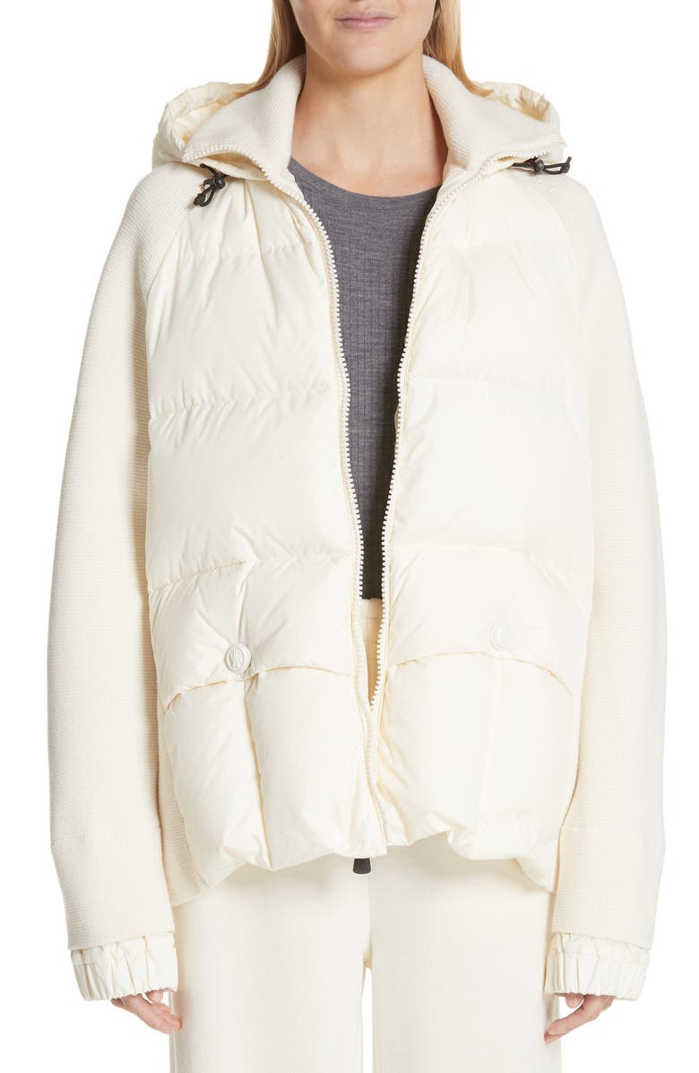 MONCLER Spa Quilted Down & Knit Hooded Jacket, Main, color, 101