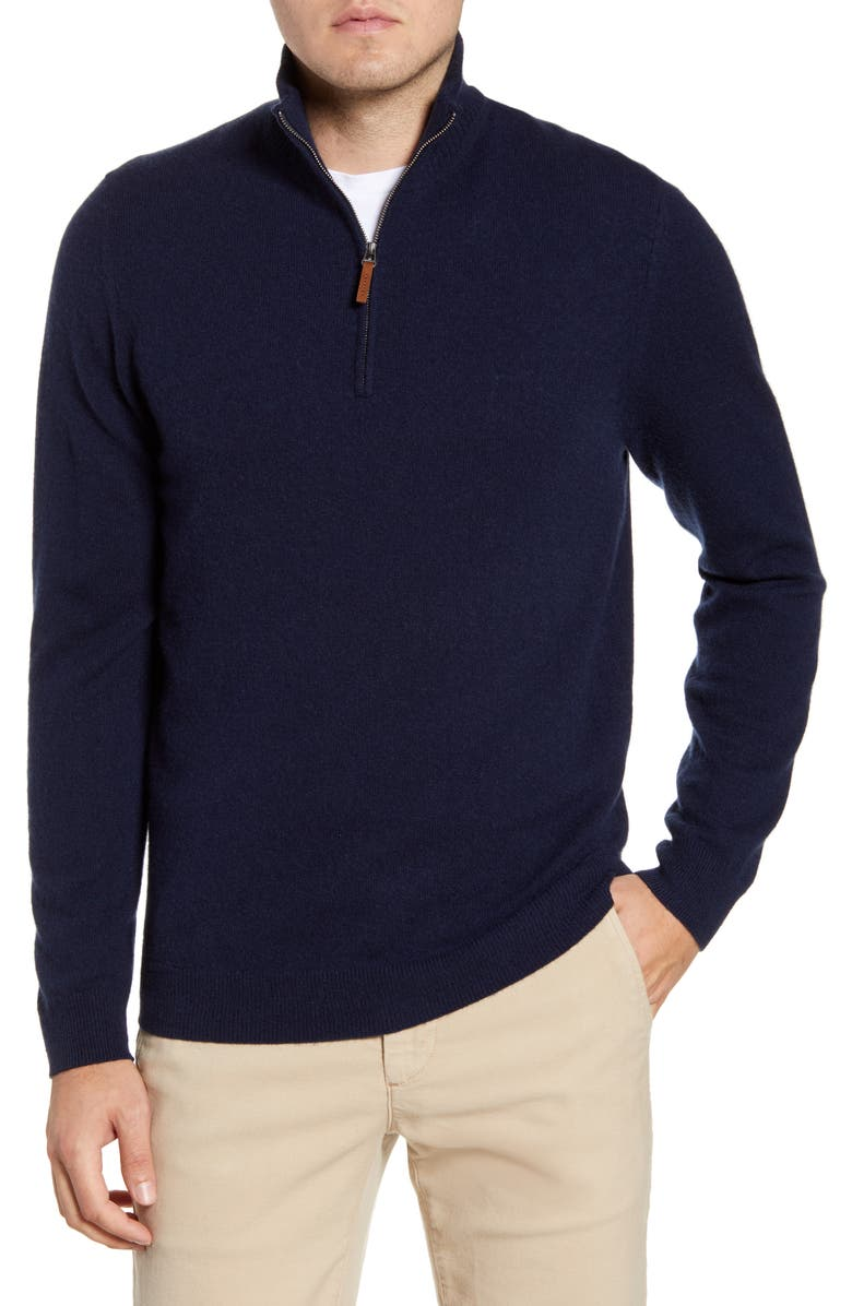 NORDSTROM MEN'S SHOP Regular Fit Cashmere Quarter Zip Pullover, Main, color, NAVY BLAZER