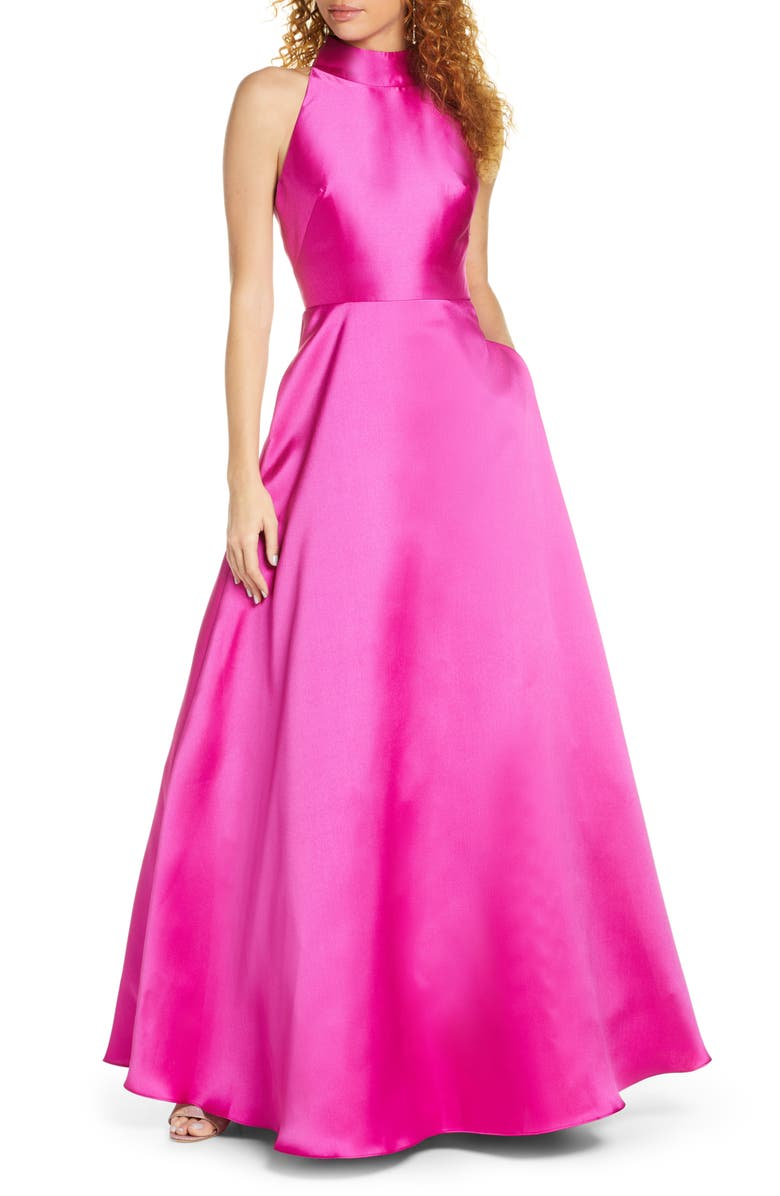 ML MONIQUE LHUILLIER Satin Mock Neck Evening Dress, Main, color, MAGENTA