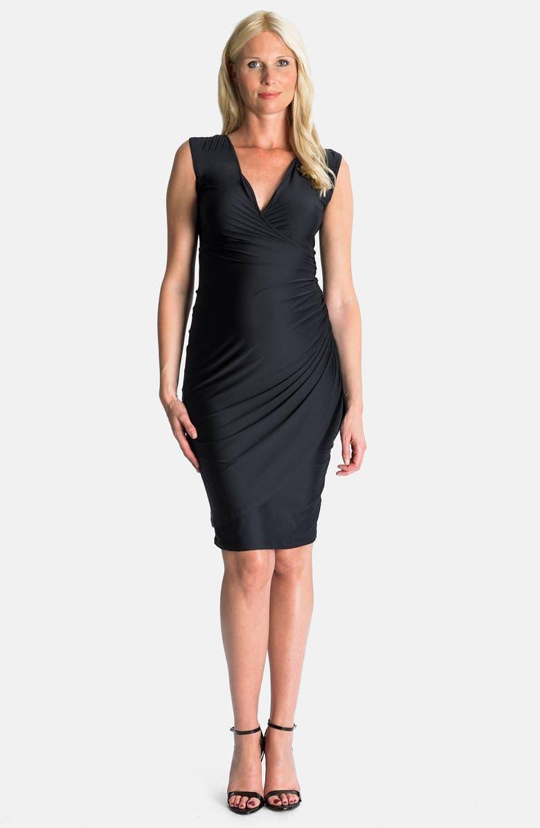 EVA ALEXANDER London Faux Wrap Jersey Maternity Dress, Main, color, ALEXANDRA BLACK