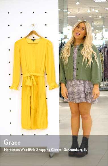 Tie Front Pleated Long Sleeve Dress, sales video thumbnail