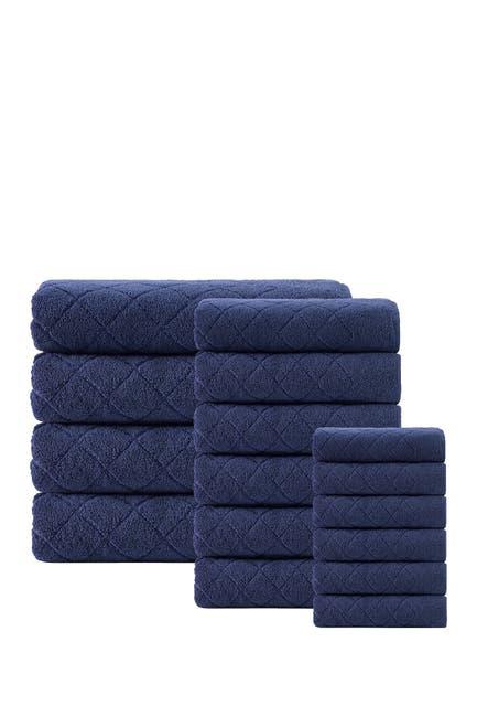 Image of ENCHANTE HOME Gracious Turkish Cotton 16-Piece Towel Set - Navy