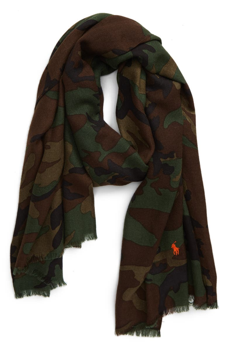 POLO RALPH LAUREN Camo Wool Scarf, Main, color, 352