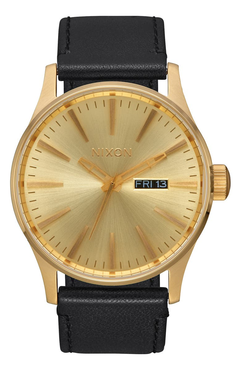 NIXON The Sentry Leather Strap Watch, 42mm, Main, color, BLACK/ GOLD