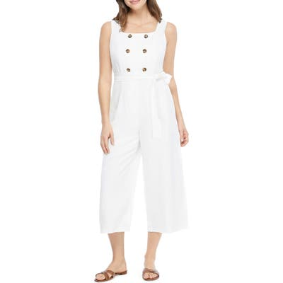 Gal Meets Glam Collection Cleo Square Neck Jumpsuit, White