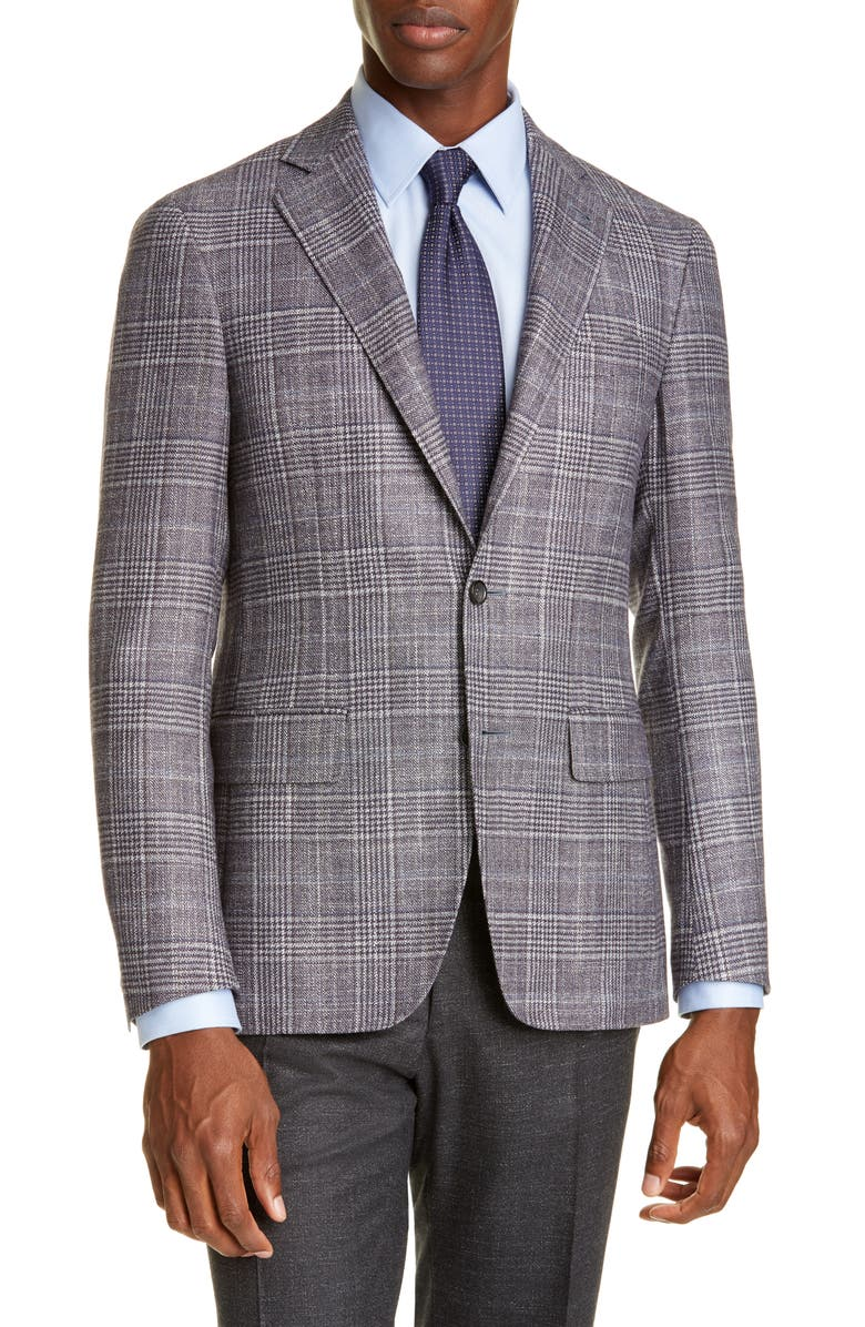 CANALI Kei Trim Fit Plaid Wool Blend Sport Coat, Main, color, GREY