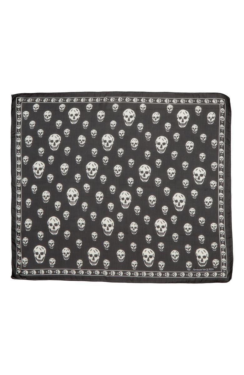ALEXANDER MCQUEEN Skull Silk Scarf, Main, color, BLACK/ IVORY