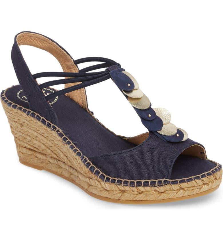 TONI PONS Sitges Espadrille Sandal, Main, color, NAVY FABRIC