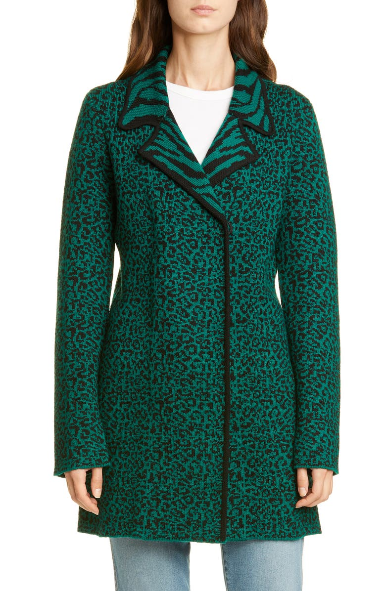 VICTOR GLEMAUD Leopard & Zebra Jacquard Wool Sweater Coat, Main, color, GREEN AND BLACK PRINT