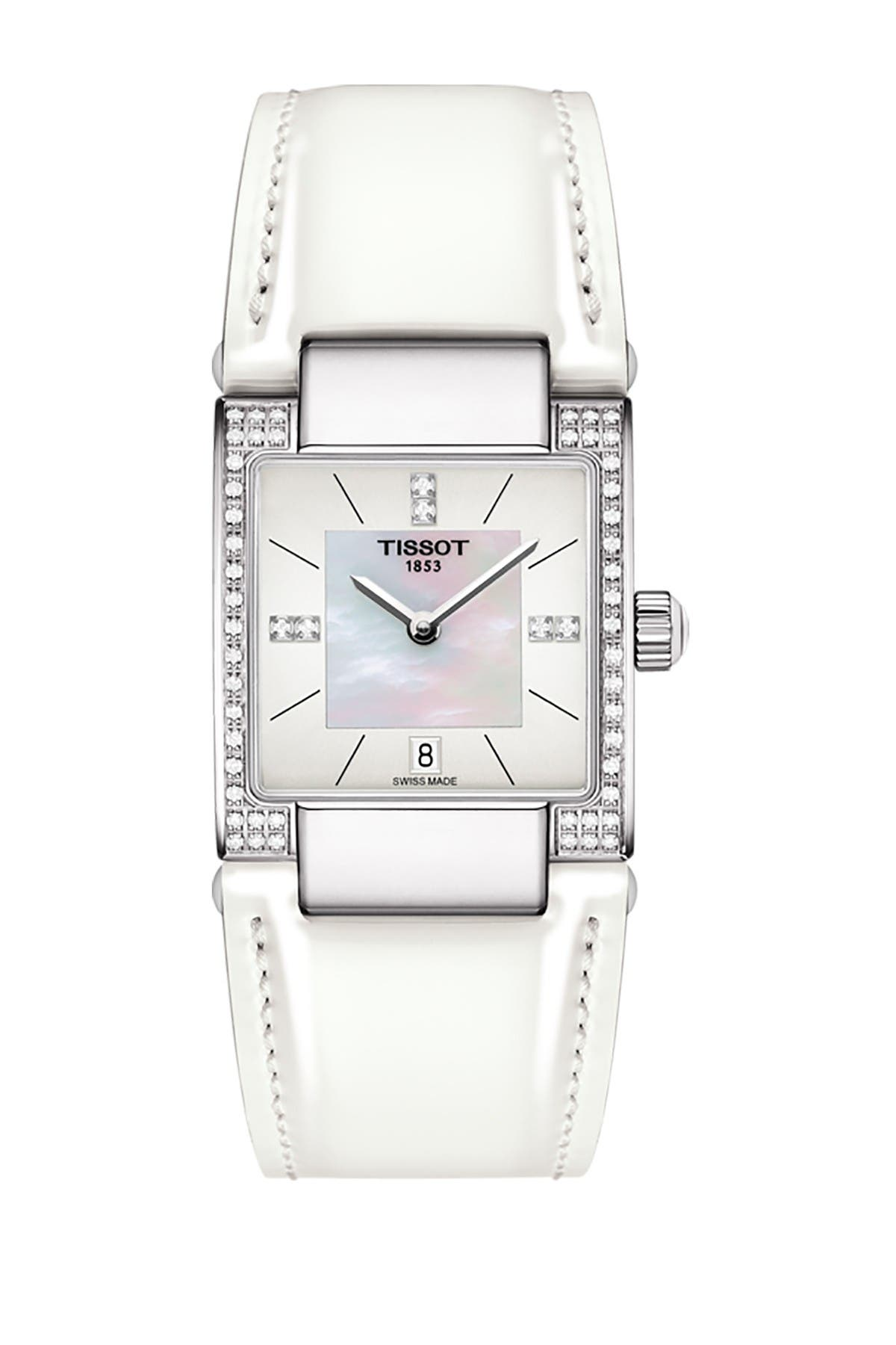 Image of Tissot Women's T-2 Mother of Pearl Diamond Accented Leather Strap Watch- 0.16 ctw, 32mm