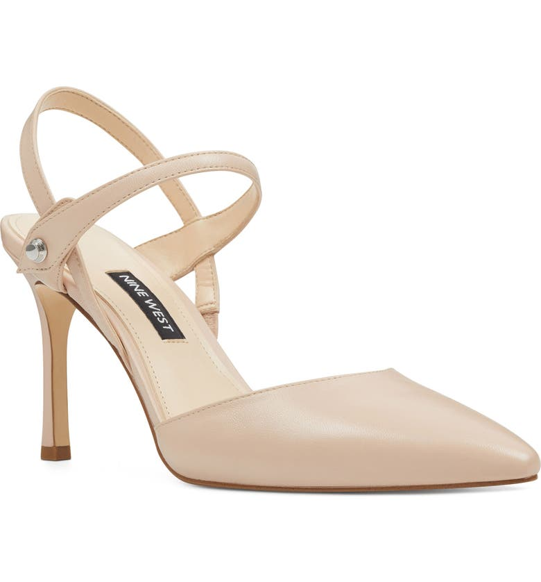 NINE WEST Emme Pointy Toe Pump, Main, color, PALE BLUSH LEATHER