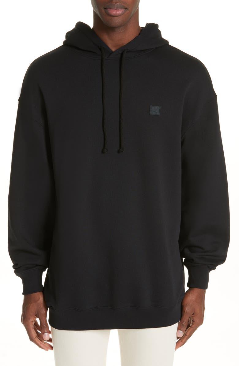 ACNE STUDIOS Farrin Face Hooded Sweatshirt, Main, color, BLACK