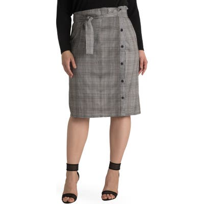 Plus Size Standards & Practices Tilly Paperbag Skirt, Grey