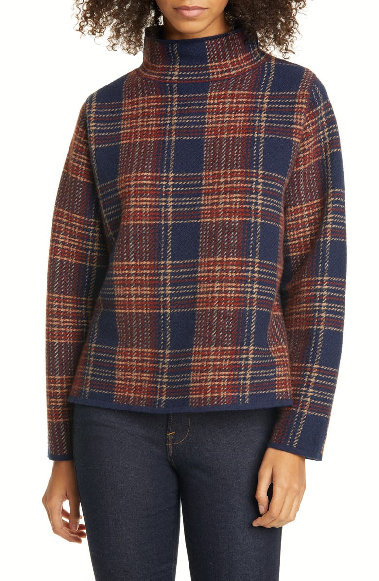 NORDSTROM SIGNATURE Plaid Mock Neck Sweater, Main, color, 410
