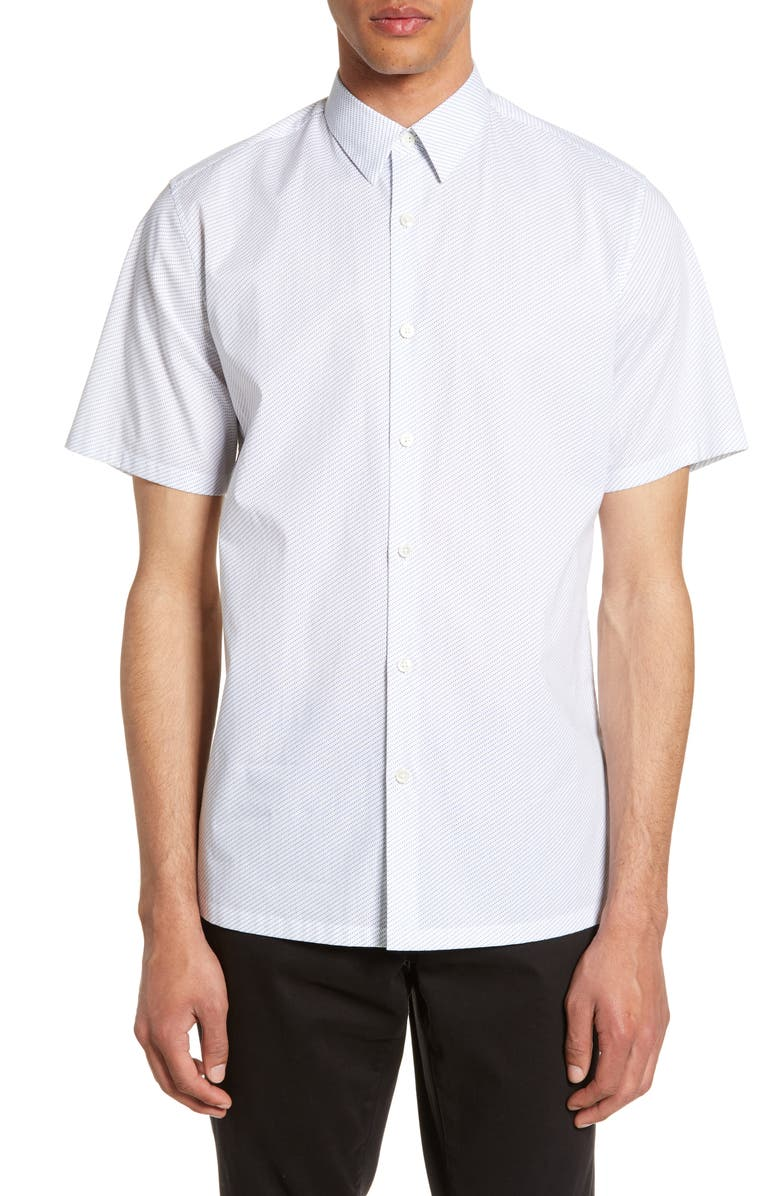 THEORY Irving Adder Slim Fit Print Short Sleeve Button-Up Shirt, Main, color, WHITE MULTI