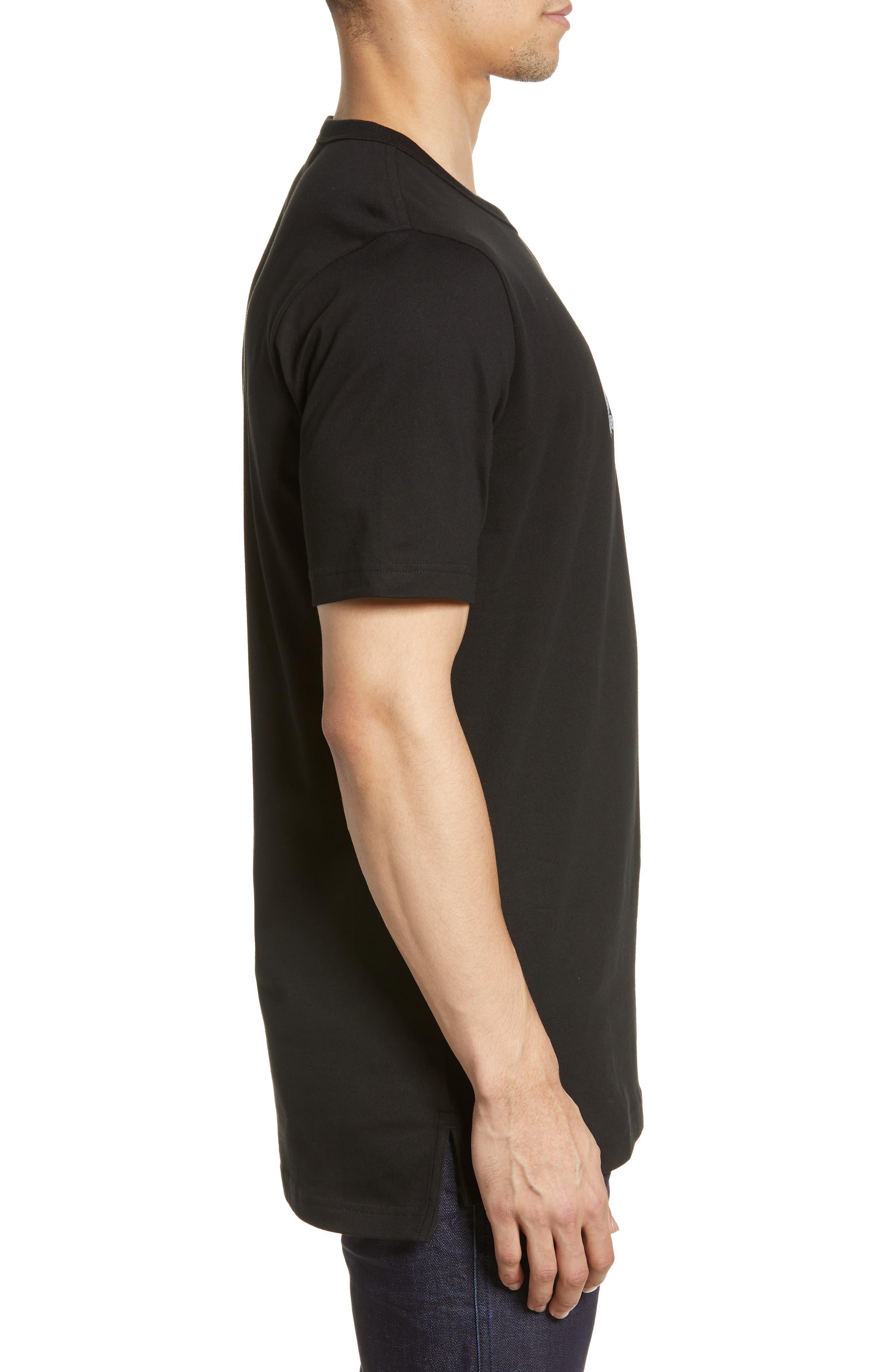 ,                             Premium Transfer Logo T-Shirt,                             Alternate thumbnail 3, color,                             BLACK