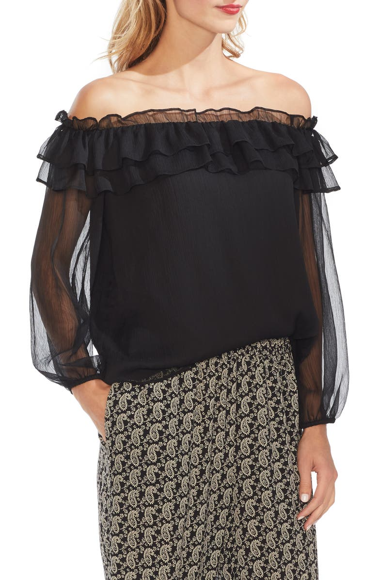 VINCE CAMUTO Ruffle Off the Shoulder Top, Main, color, 006