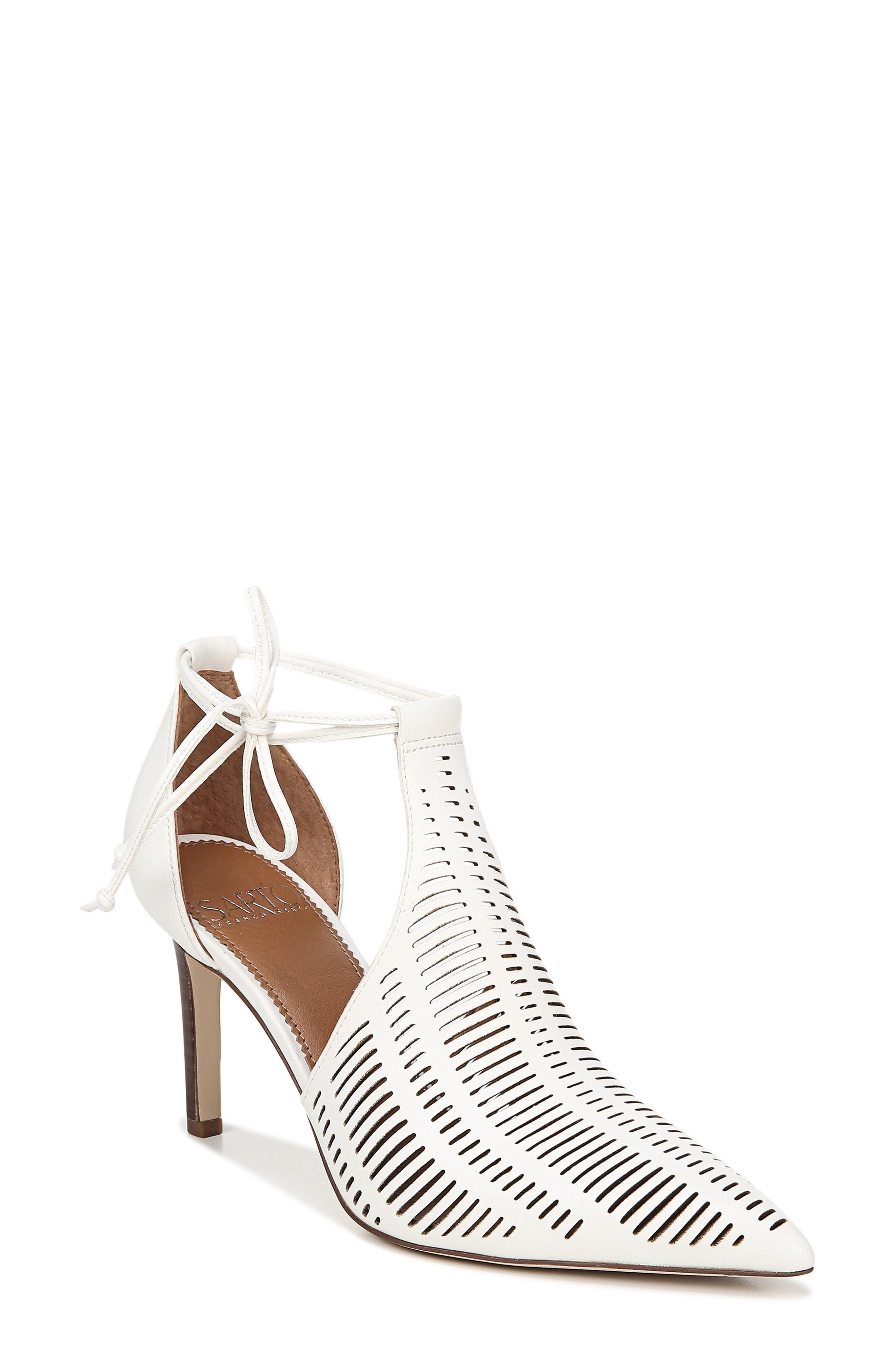 Sarto By Franco Sarto Krista Perforated Ankle Wrap Pump, White