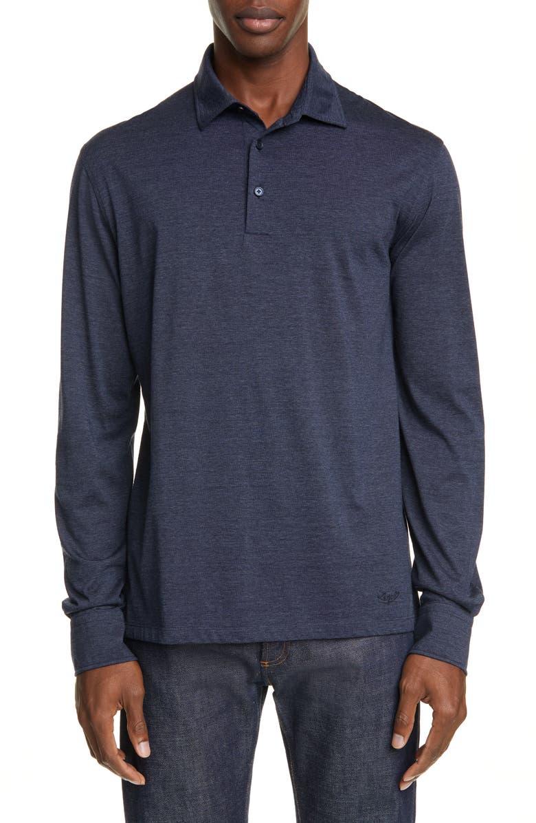 ERMENEGILDO ZEGNA Classic Fit Cotton & Wool Long Sleeve Polo, Main, color, NAVY