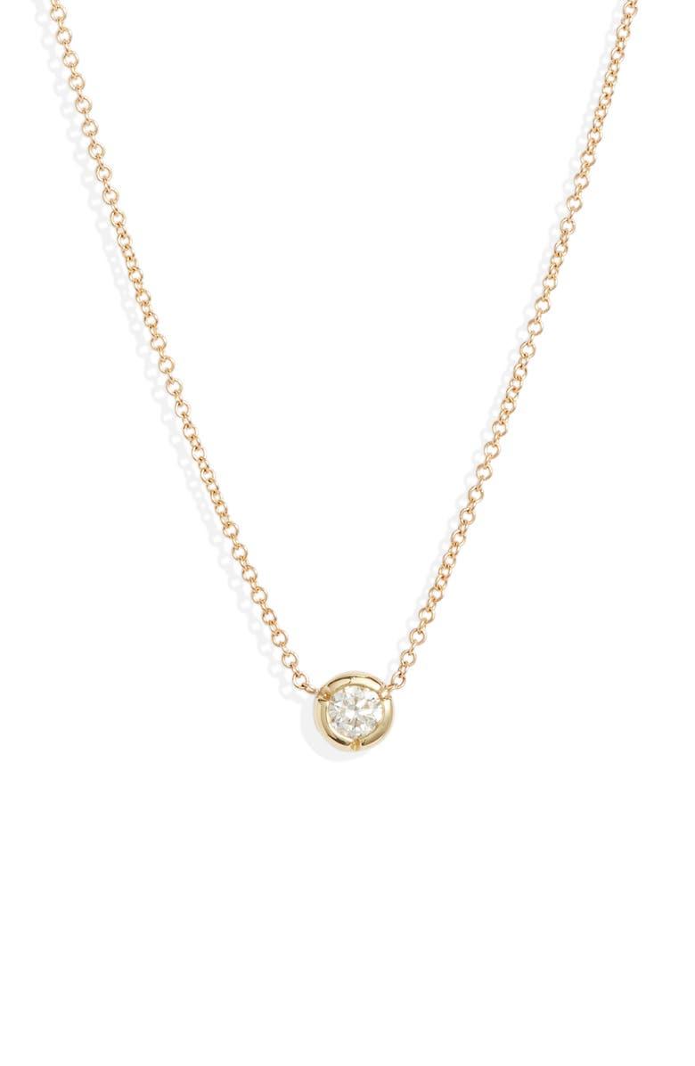 BONY LEVY Small Bezel Diamond Solitaire Necklace, Main, color, YELLOW GOLD/ DIAMOND