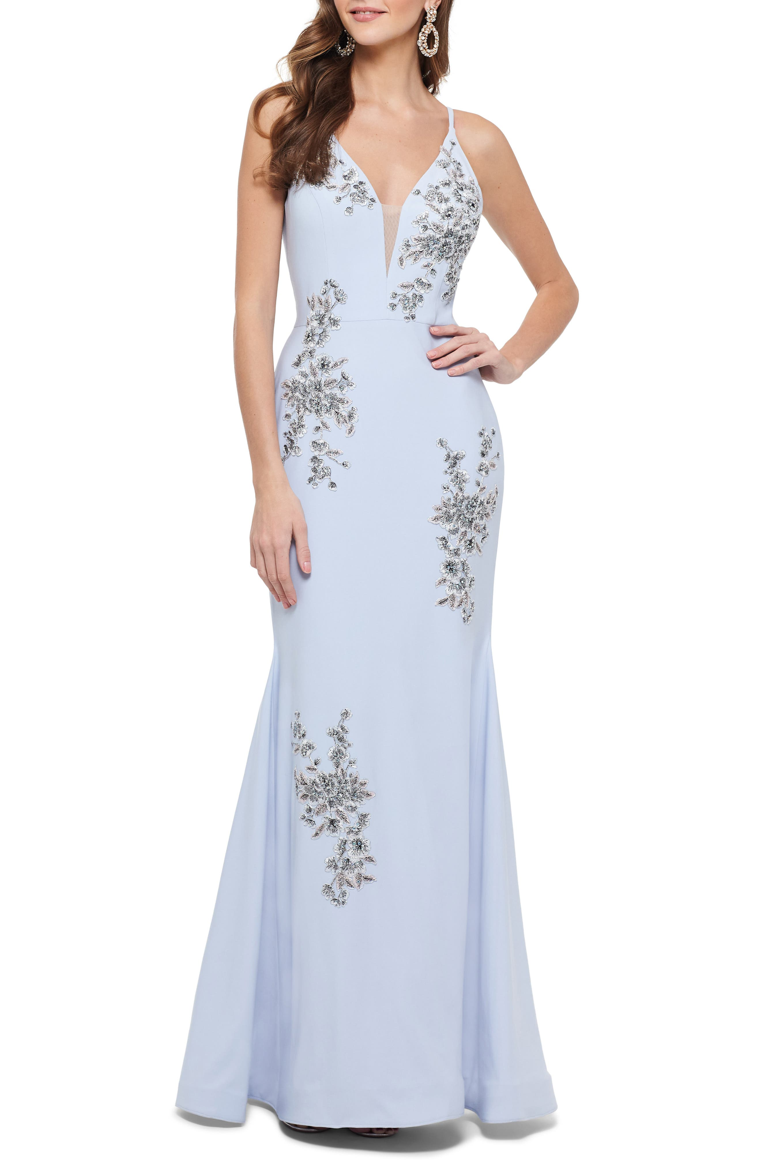 Xscape Beaded Embroidery Evening Dress, Blue