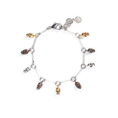 Erwin Pearl Lucky Skulls Charm Bracelet