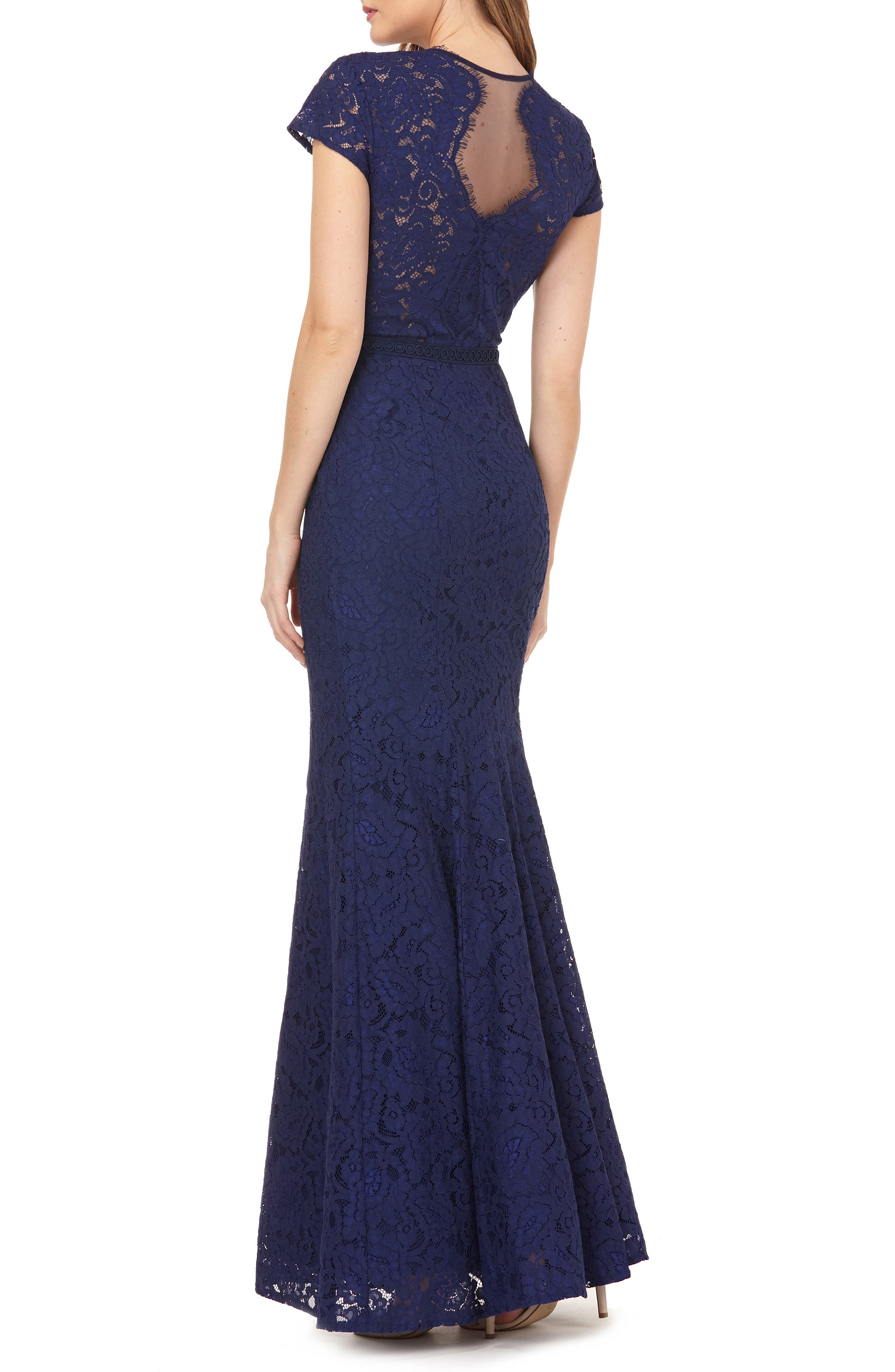 ,                             Lace Mermaid Gown,                             Alternate thumbnail 2, color,                             NAVY