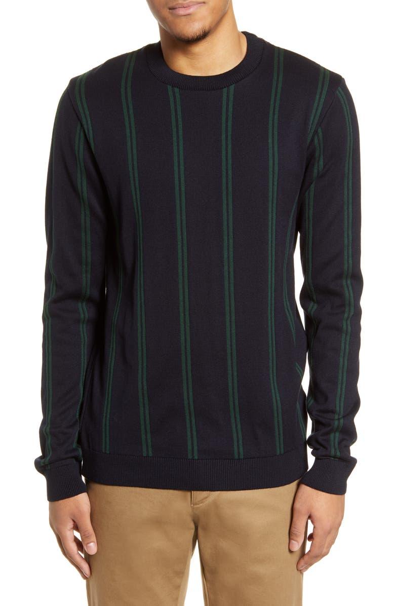 TOPMAN Stripe Crewneck Sweater, Main, color, GREEN MULTI