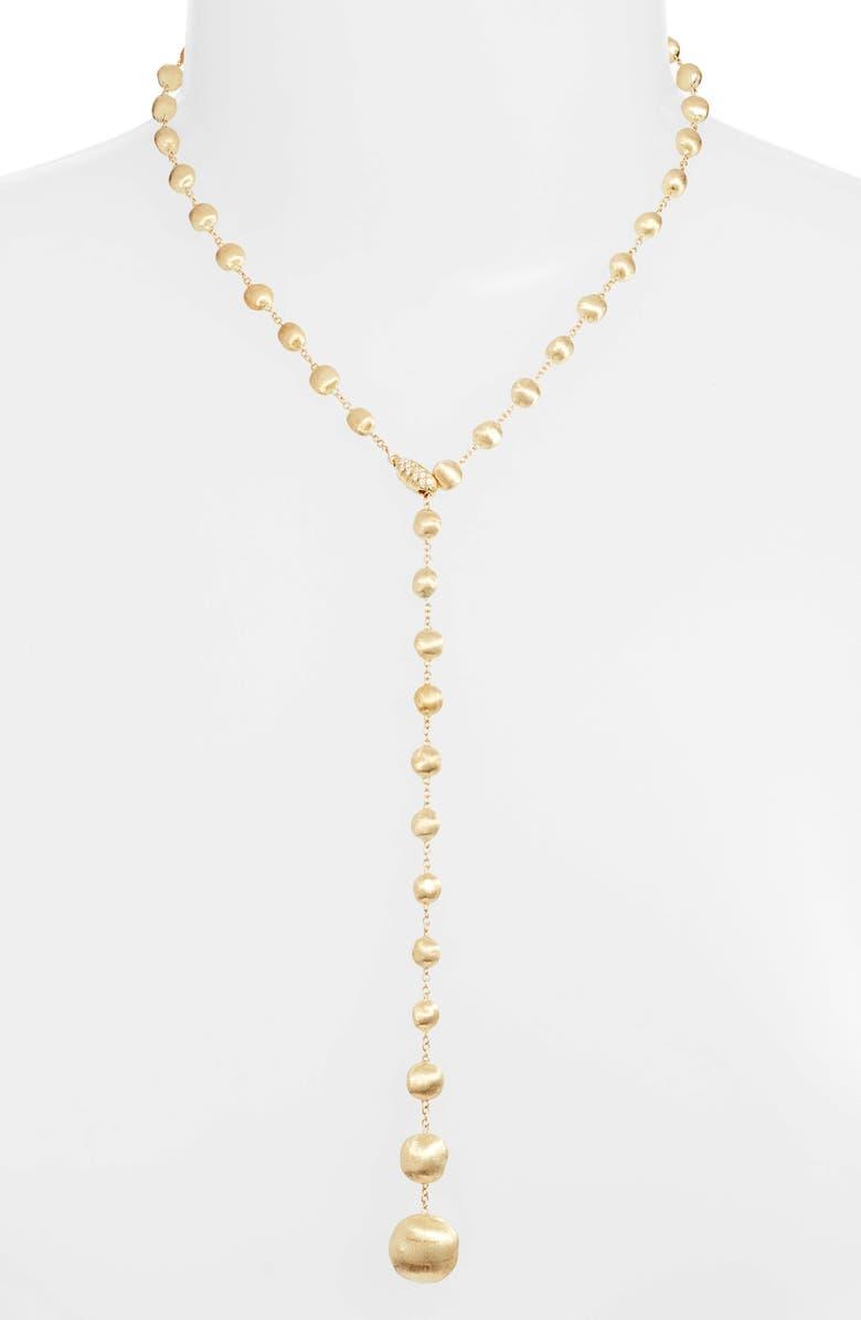 Marco Bicego Africa 18K Gold Diamond Lariat Necklace