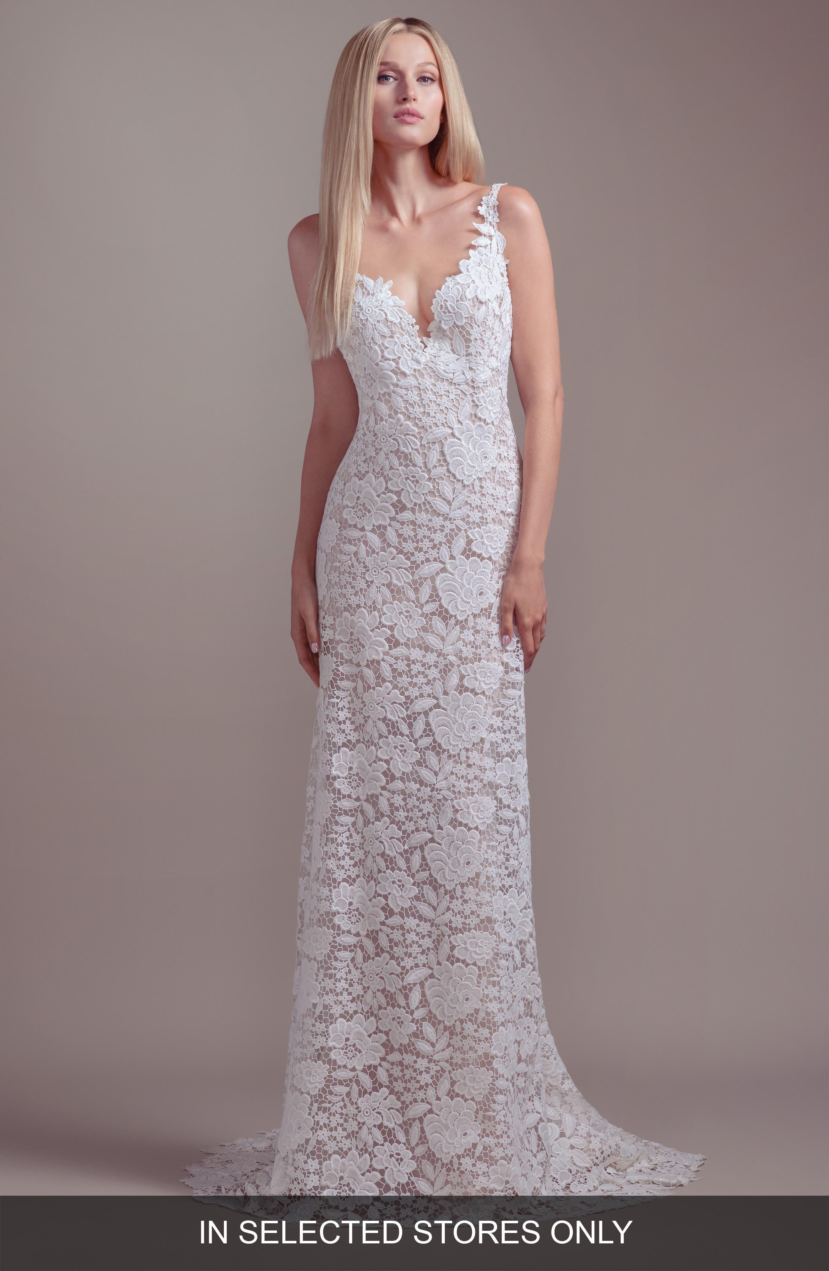853003251 Blush By Hayley Paige Atlas V-Neck Lace Wedding Dress, Size - Ivory