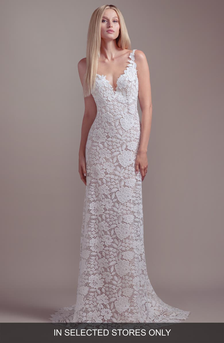 BLUSH BY HAYLEY PAIGE Atlas V-Neck Lace Wedding Dress, Main, color, IVORY