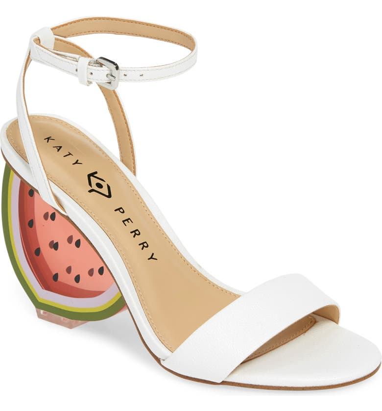 KATY PERRY Petra Clear Watermelon Heel Sandal, Main, color, WHITE