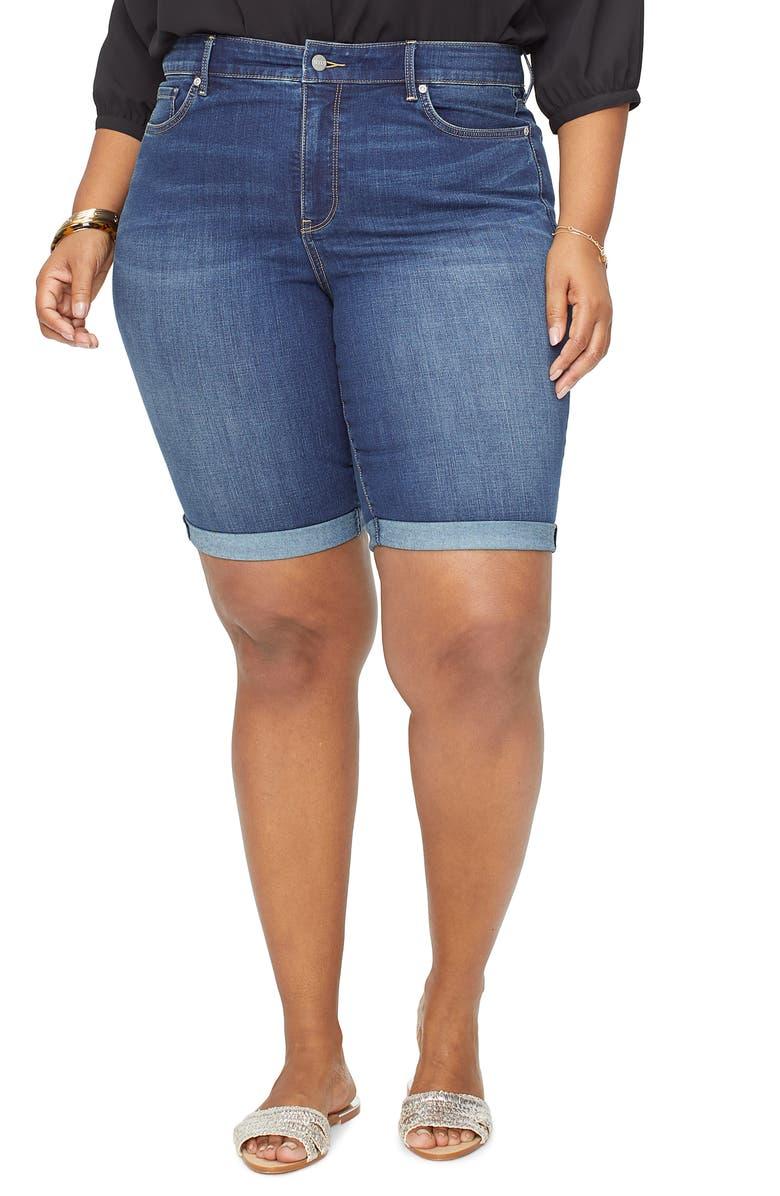 NYDJ Briella Cool Embrace Roll Cuff Denim Shorts, Main, color, JUNIPERO