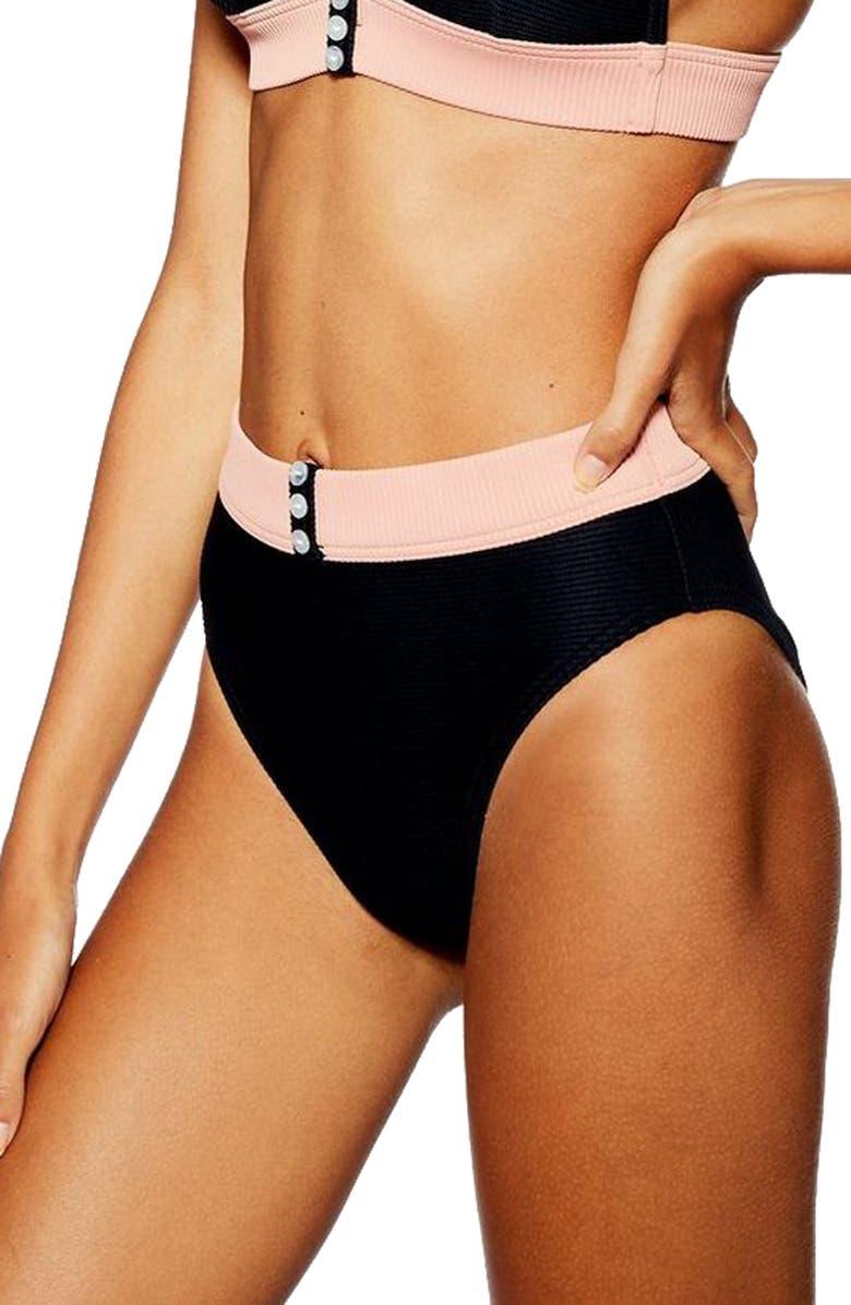 TOPSHOP Button Ribbed Bikini Bottoms, Main, color, 001