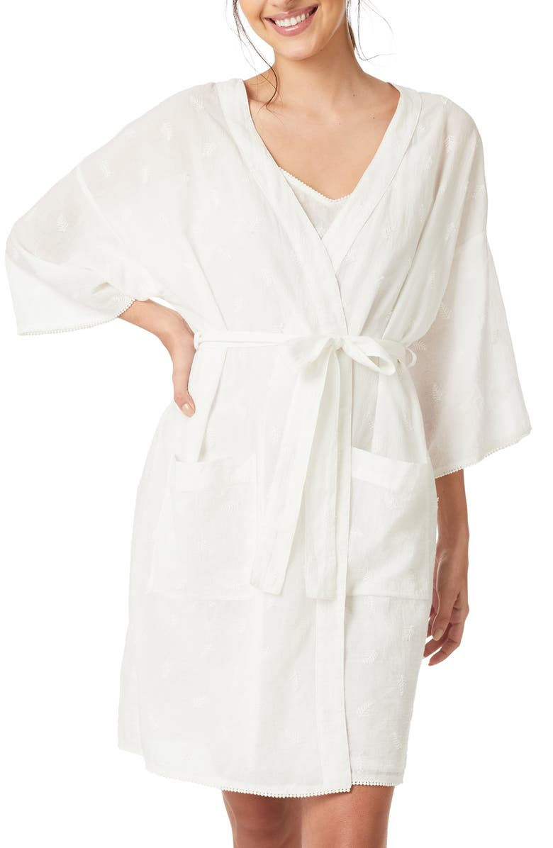 THE WHITE COMPANY Fern Embroidered Robe, Main, color, WHITE