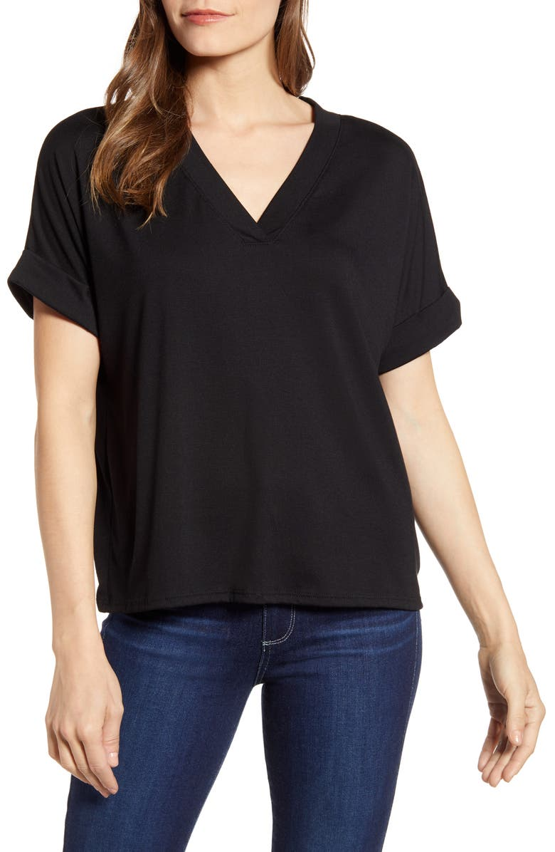 AL MC Erica Rolled Sleeve V-Neck T-Shirt, Main, color, BLACK