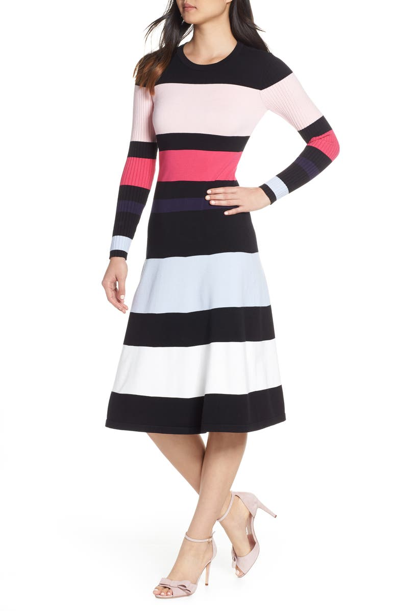 ELIZA J Stripe Sweater Dress, Main, color, BLACK