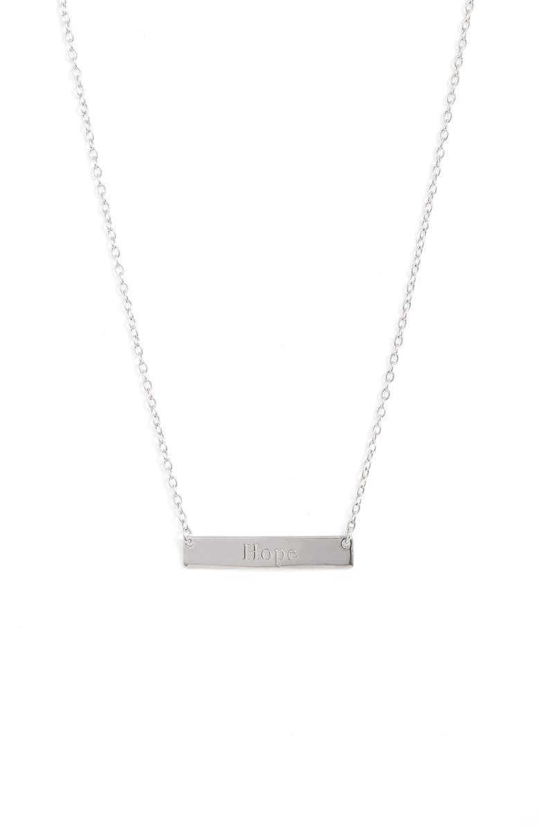 STERLING FOREVER Hope Bar Pendant Necklace, Main, color, SILVER