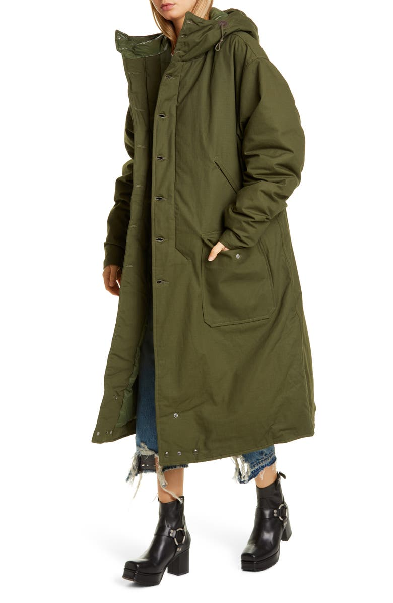 R13 Long Hooded Down Puffer Coat, Main, color, OLIVE