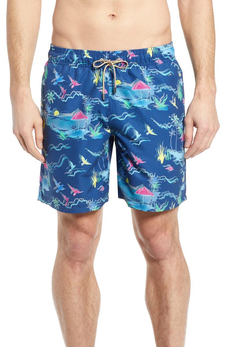 BUGATCHI Regular Fit Swim Trunks, Main, color, NAVY
