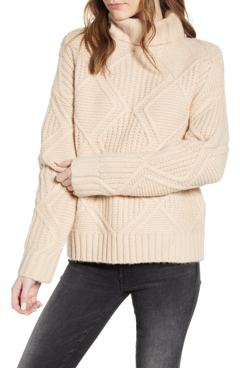 CASLON<SUP>®</SUP> Chunky Cable Knit Turtleneck Sweater, Main, color, TAN