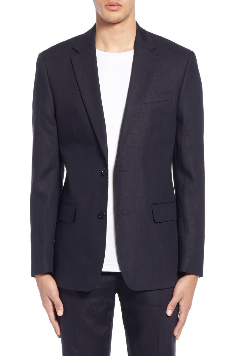 FRENCH CONNECTION Slim Fit Linen Suit Jacket, Main, color, UTILITY BLUE