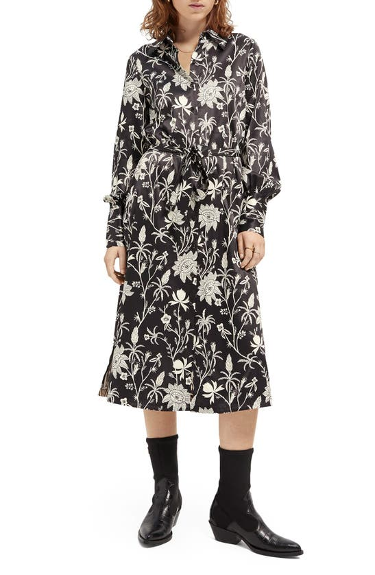 Scotch & Soda LONG SLEEVE SATIN SHIRTDRESS