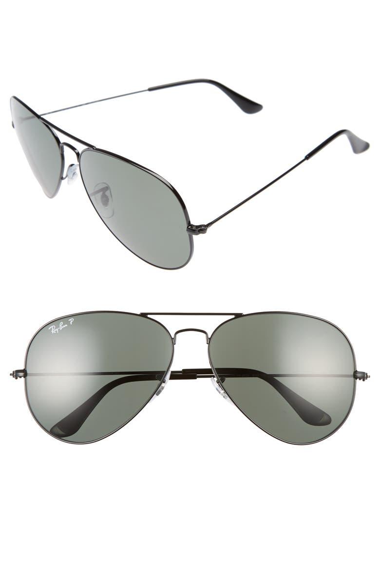 RAY-BAN Icons 62mm Polarized Aviator Sunglasses, Main, color, BLACK