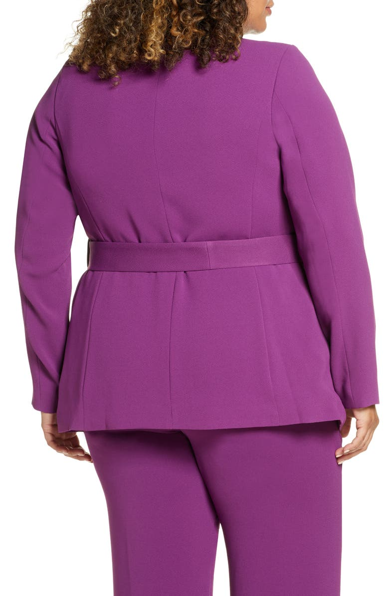 ELOQUII Belted Double Breasted Blazer, Main, color, GRAPE JUICE
